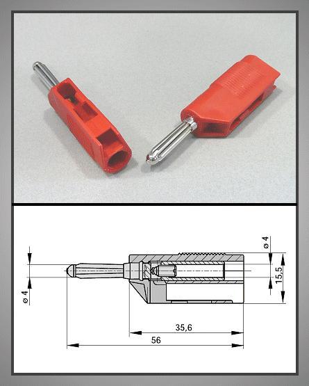 4mm banándugó piros vezeték + aljzat 60V/30A CSAT-B005/R