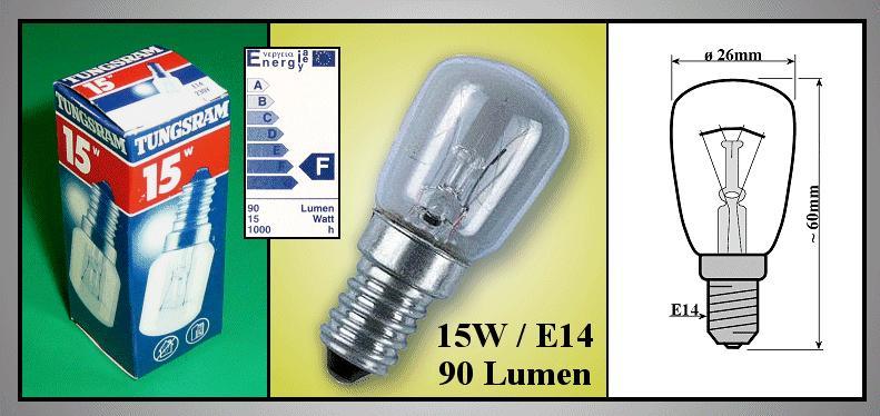 E14 15W 230V átmérő: 26mm LAMP 0035/15T