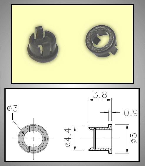 LED foglalat 3mm 1 részes plasztik RTC-31