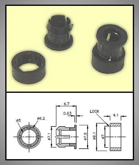 LED foglalat 5mm 2 részes plasztik RTC-52