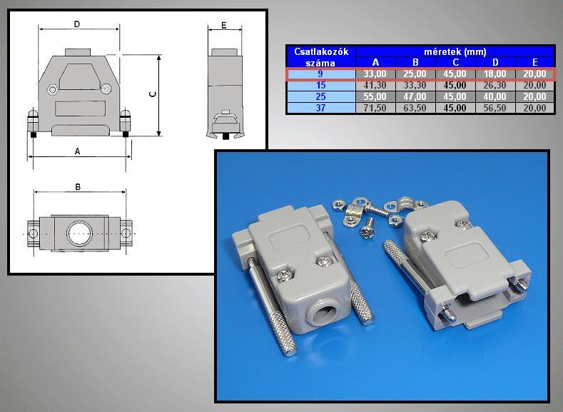 D-SUB 9p. műanyag ház kézi csavarral (szürke) CS-DS009HK/S