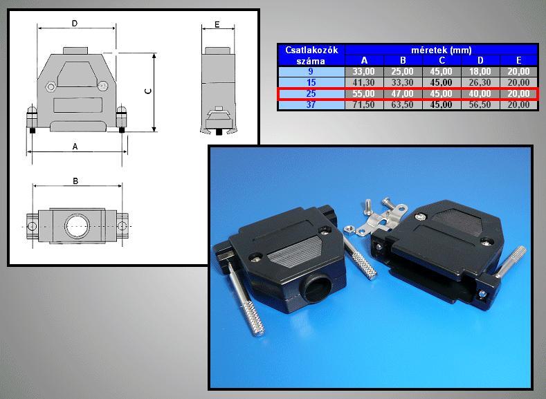 D-SUB 25p. műanyag ház kézi csavaros (fekete) CS-DS025HK/F