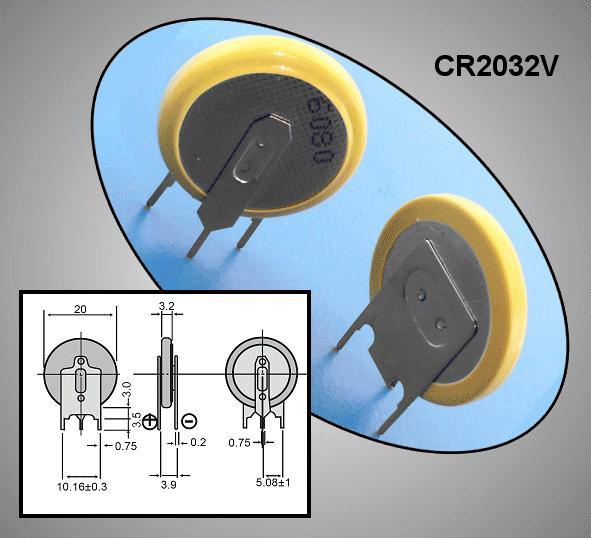 3V 180mAh lítium elem Vert. (forrasztható) BAT CR2032V