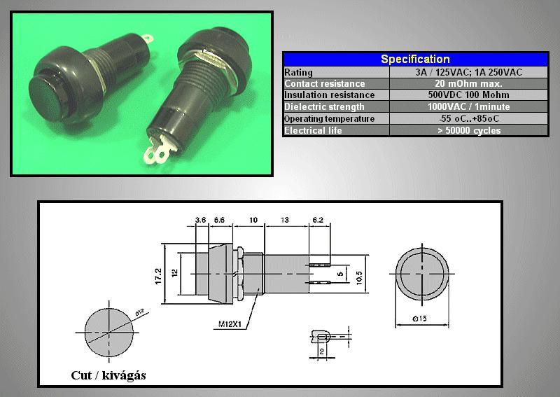 Nyitott nyomókapcsoló (fekete) 1A 250V SW3002/B
