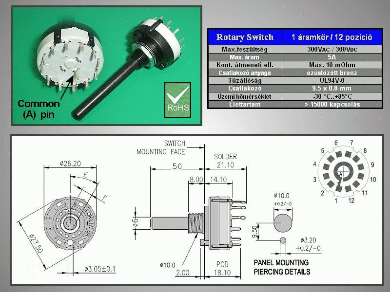 1 érintkezős -12 állású kapcsoló 30° BBM PCB. SWR 1X12P -