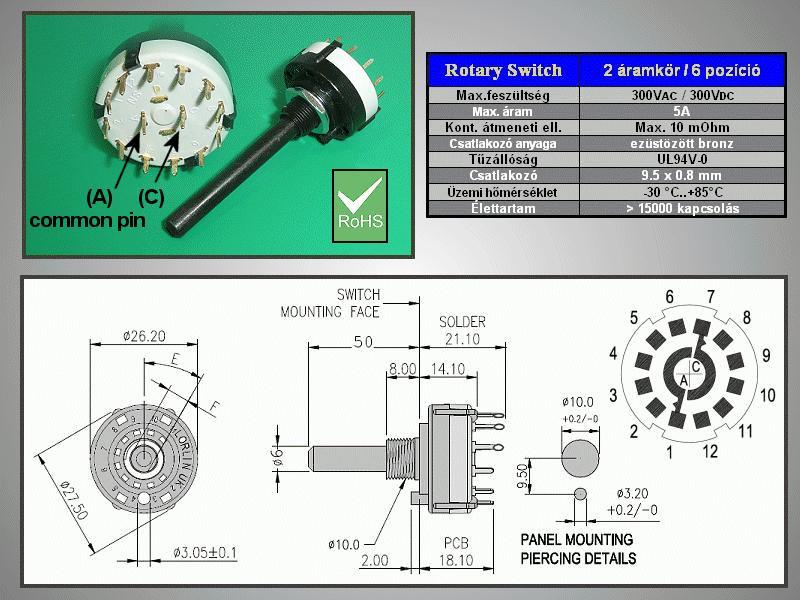 2 érintkezős - 6 állású kapcsoló 30° BBM PCB. SWR 2X6P