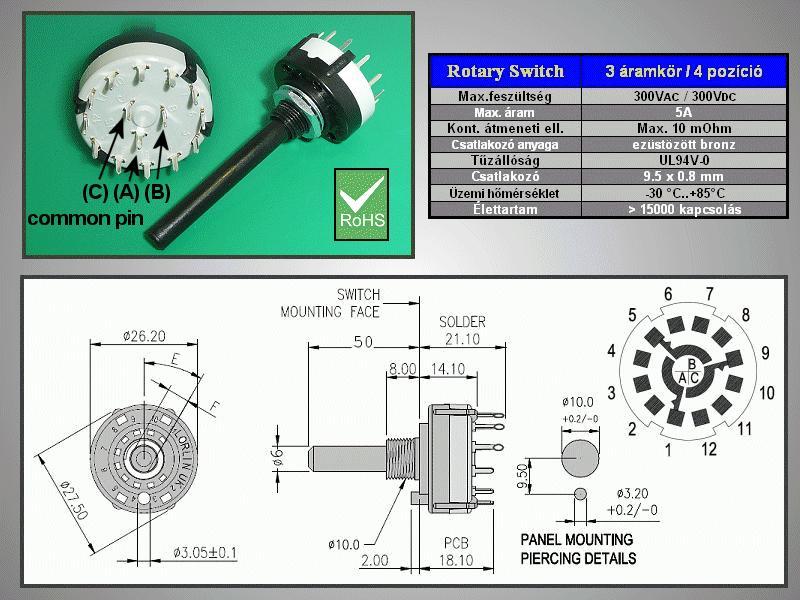 3 érintkezős - 4 állású kapcsoló 30° BBM PCB. SWR 3X4P -