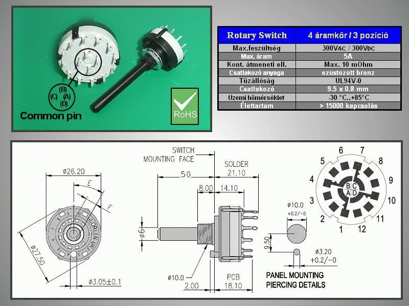 4 érintkezős - 3 állású kapcsoló 30° BBM PCB. SWR 4X3P