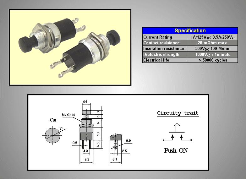 Nyitott nyomókapcsoló (fekete) 0.5A 250V OFF-(ON) SW3001/B