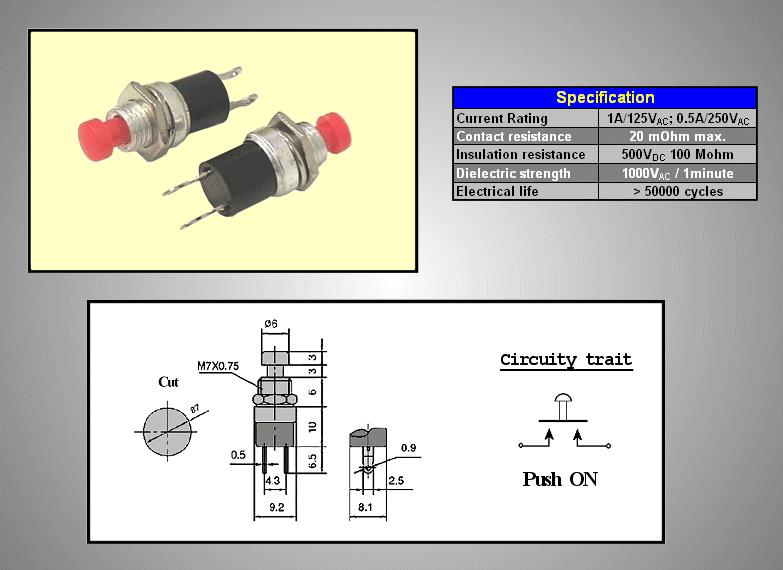 Nyitott nyomókapcsoló (piros) 0.5A 250V OFF-(ON) SW3001/R