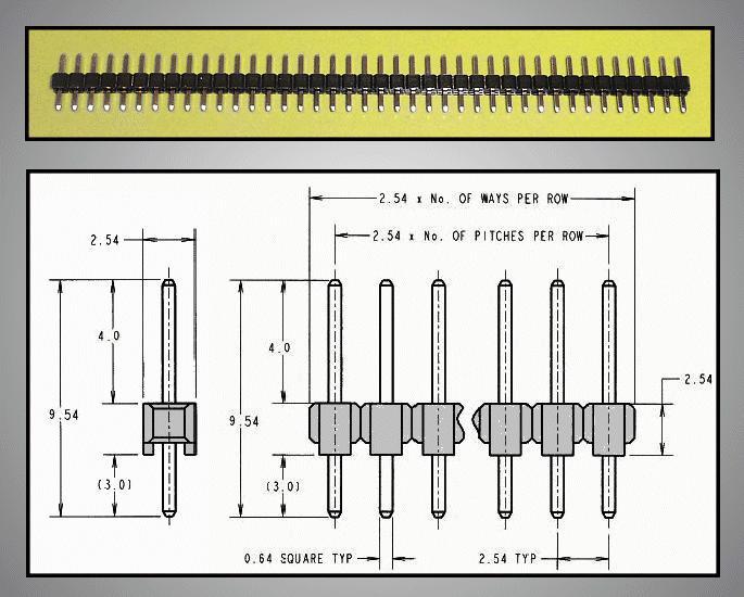 Egysoros tüskesor 2.54 1x40p.3/ 4mm 0.64mm STSF 40P 3/04