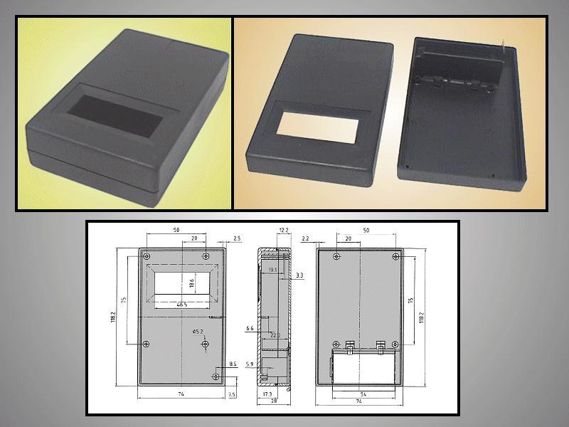 BOX 117x73x28mm ablakos, elemtartó hellyel BOX KM33C