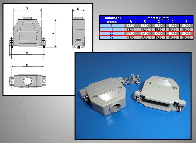 D-SUB 25p. műanyag ház (szürke) normál csavaros CS-DS025H/S