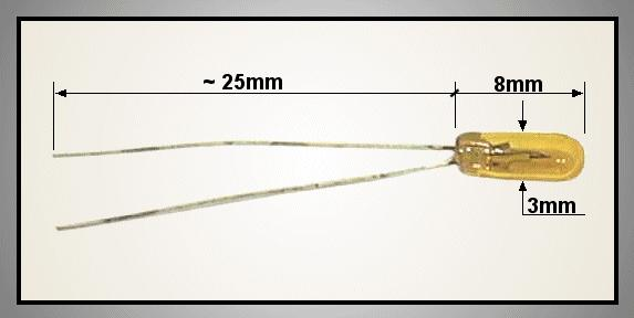Izzó 3V 90mA szinezett sárga3x8 LAMP 0603/Y