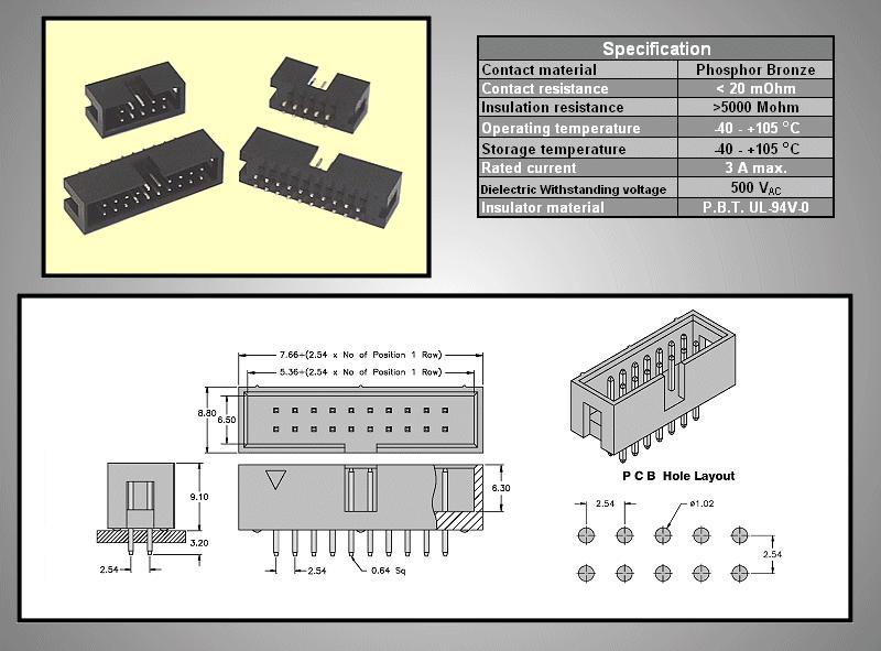 Kétsoros csatlakozó ház 6p. IDC apa CSAT-20061/H -