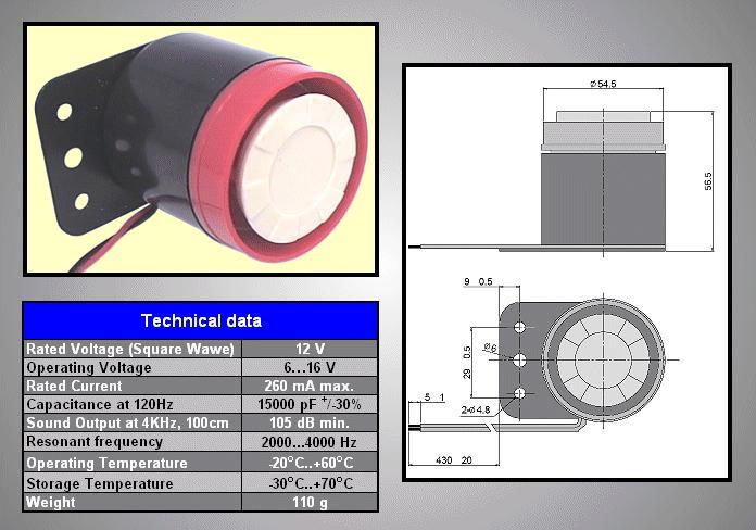 Piezoelektromos sziréna BPS-1500 BZ-015