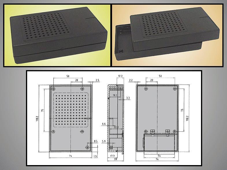 BOX 117x73x28mm perforált, elemtartó hellyel BOX KM33