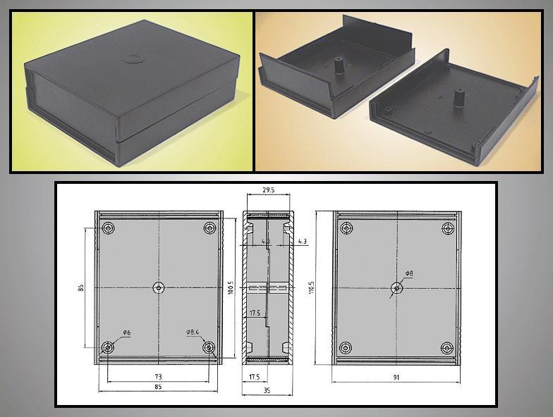 UNIVERSAL BOX 110x90x35mm (fekete) BOX KM35