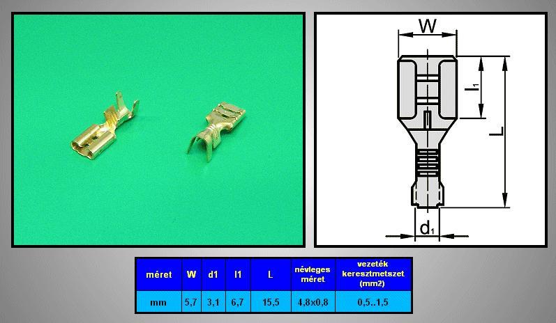 Kábelsaru 4.8/0.8 hüvely 0.5-1.0mm2 CS-K1480810-CU