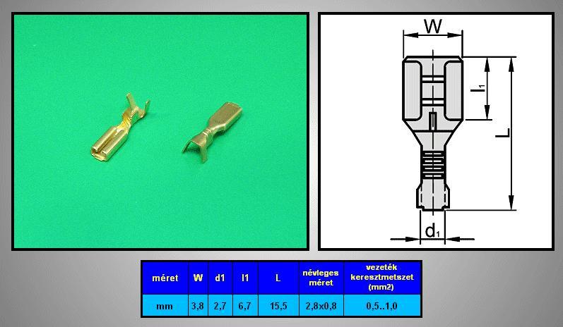 Kábelsaru 2.8/0.8 hüvely 0.5-1.0mm2 CS-K1280810/CU