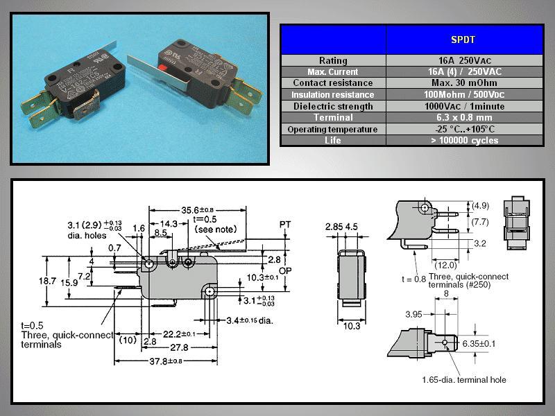 Mikrokapcsoló ON-(ON) 3p. 28x16x10mm SW11511LK