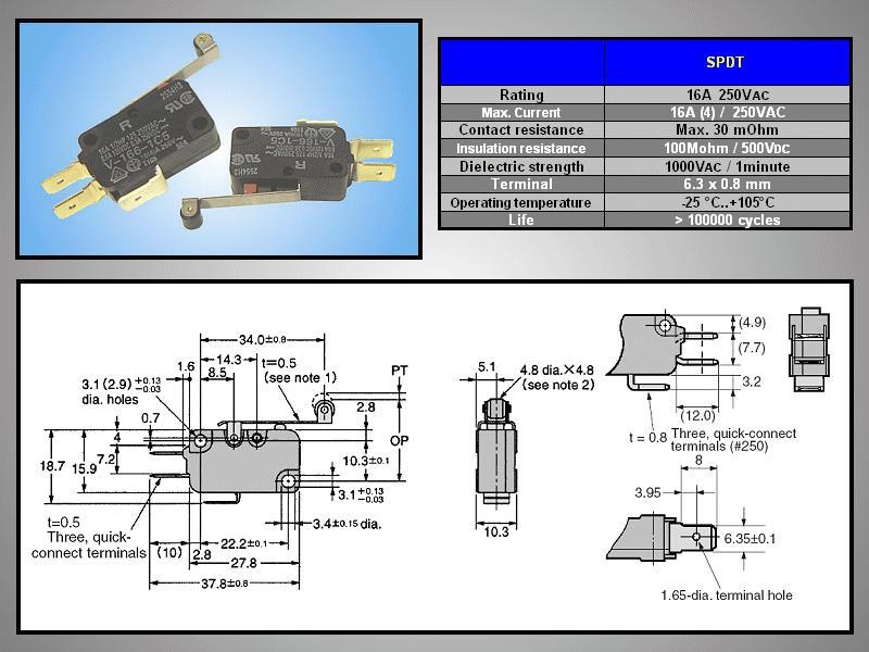 Mikrokapcsoló ON-(ON) 3p. 28x16x10mm SW11511LKGH