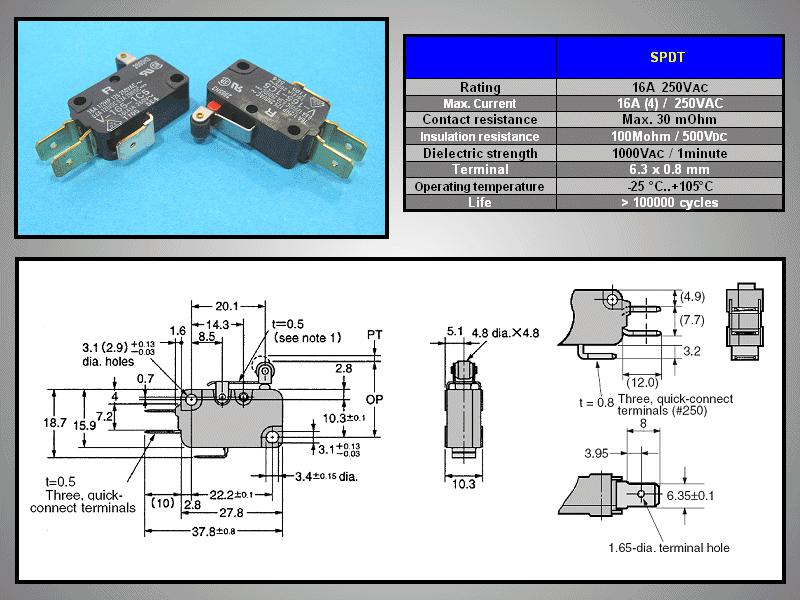 Mikrokapcsoló ON-(ON) 3p. 28x16x10mm SW11511LKG