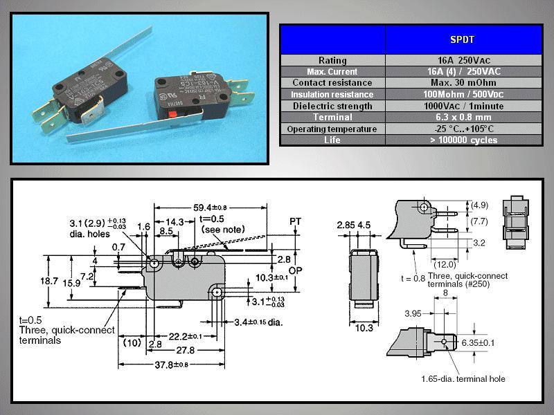 Mikrokapcsoló ON-(ON) 3p. 28x16x10mm SW11511LKH