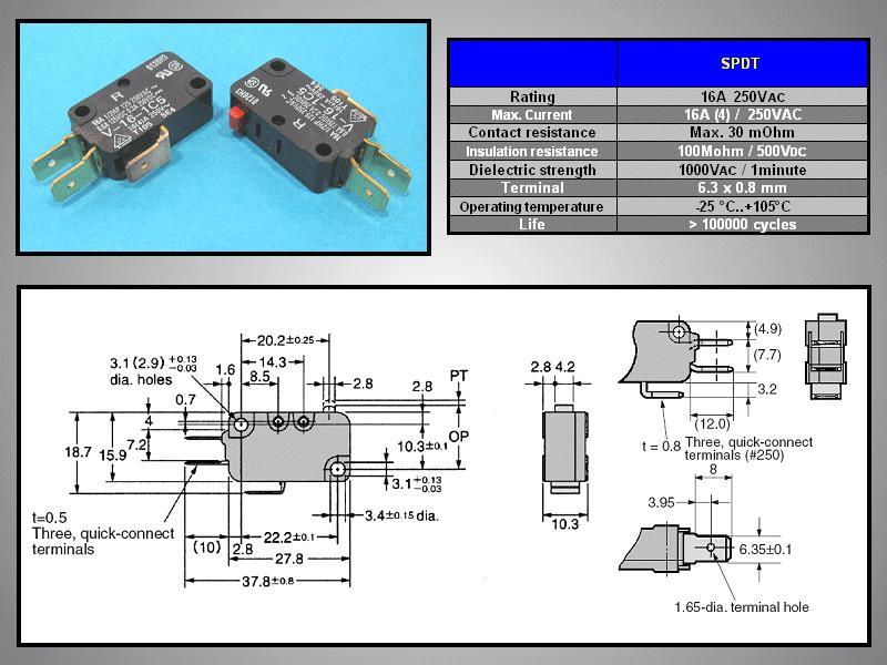 Mikrokapcsoló ON-(ON) 3p. 28x16x10mm SW11511B