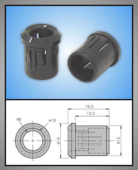 LED foglalat 8mm 1 részes plasztik RTF-8080