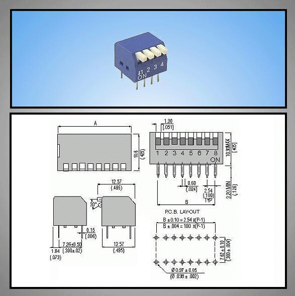 4 érintkezős DIP kapcsoló Piano, Blue DS-04P