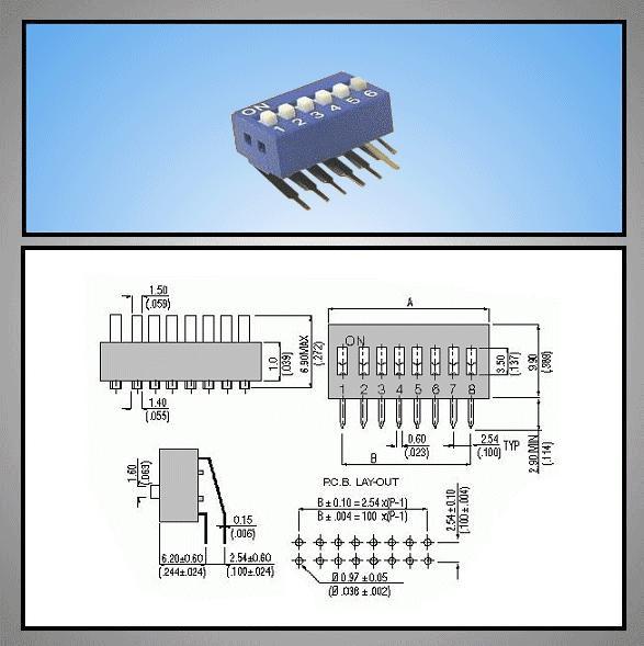 6 érintkezős DIP kapcsoló Vert. DS-06V