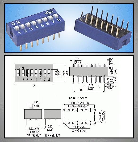 8 érintkezős DIP kapcsoló Stand. Blue DS-08