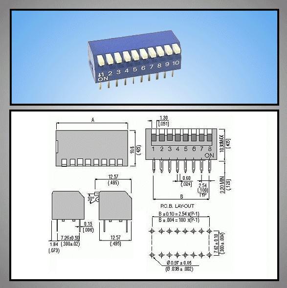 10 érintkezős DIP kapcsoló Piano DS-10P
