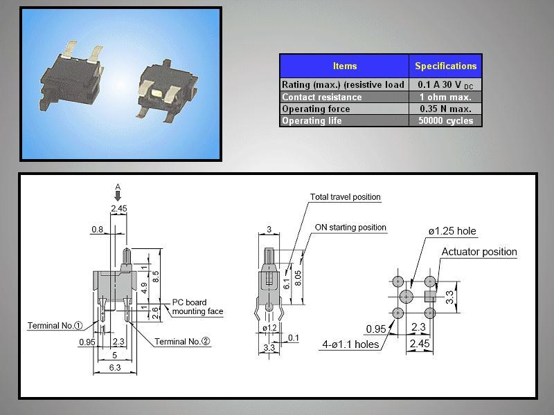 Mikrokapcsoló 6x3mm 4p(gomb=3mm) SW10085