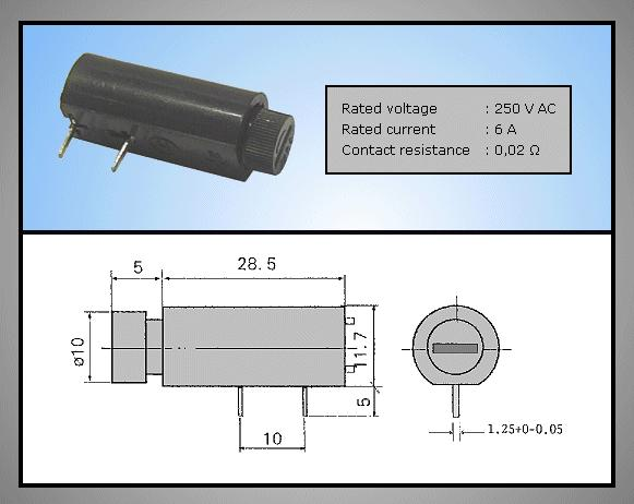 Biztosíték tartó 5x20mm 250V 6A PCB, bajonett ZH7/06H