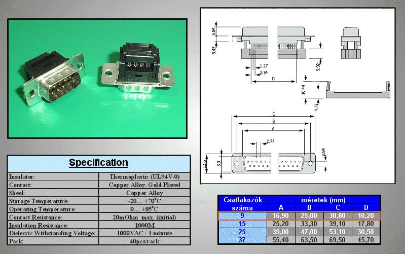 D-SUB 9p. dugó szalagkábelre CS-DS009P/S