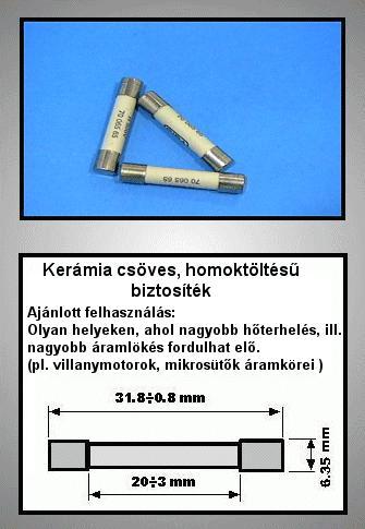 Biztosíték 1A 6,3x32mm, porcelán, lomha, 500V FUSE 1.000A32TT