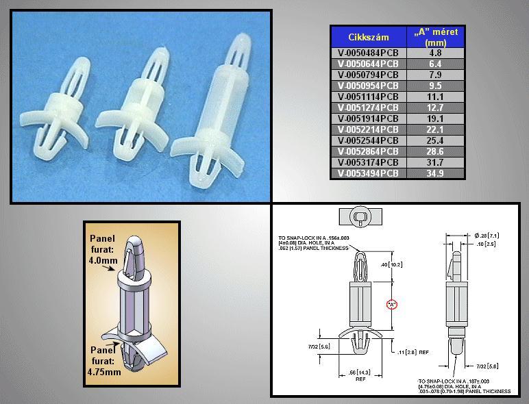 Távtartó 4.8mm D=7.1mm PCB 4mm V-0050484PCB