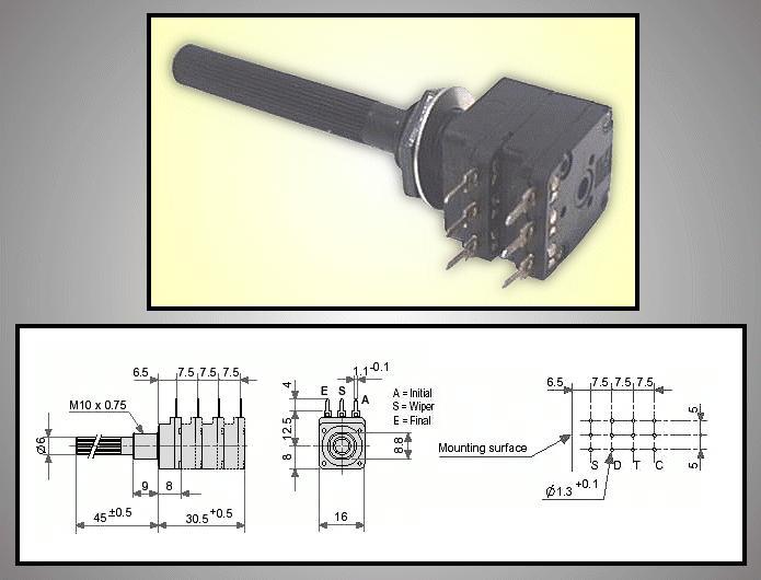 potméter műanyag sztereo logaritmikus 6mm 6PSO 25K