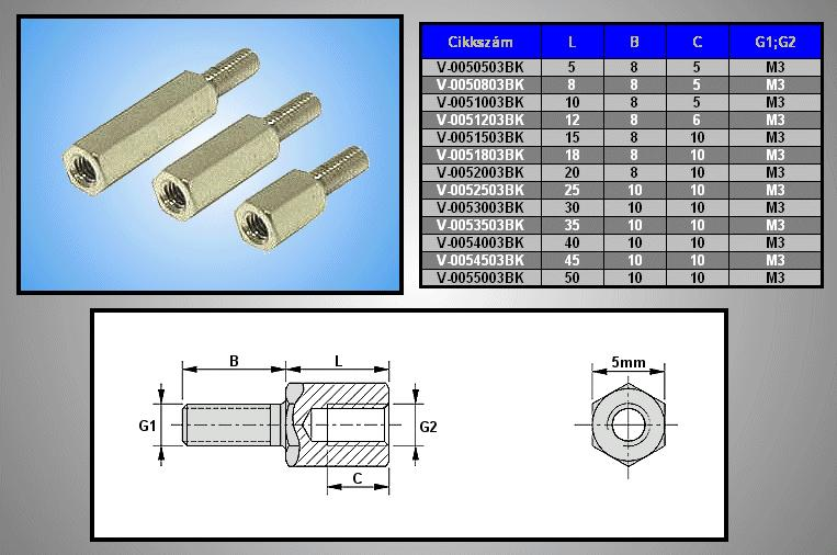 Távtartó 25mm M3 1belső 10mm / 1külső 10mm V-0052503BK-10