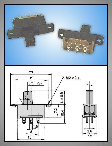 Tóló kapcsoló 2x3p. 23x7.2mm (2 áramkörös) SW18200/B