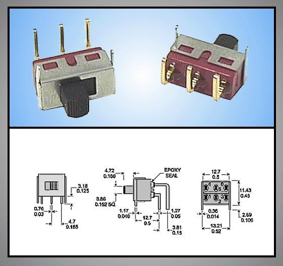 Toló kapcsoló PCB 1x3p.12.7x6.6mm (1 áramkörös) SW18002PH