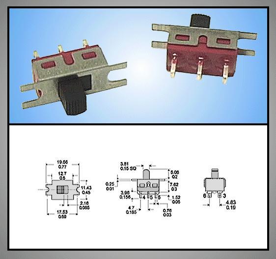 Tóló kapcsoló 1x3p.12.7x6.6mm, 2A 250Vac SW18002