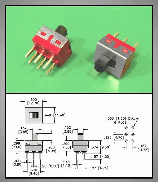 Tóló kapcsoló PCB 2x3p.12.7x11mm (2 áramkörös) SW18202P