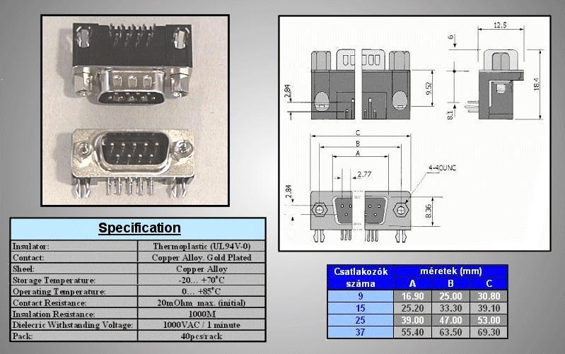 D-SUB 9p. dugó PCB 90° CS-DS009P/N90
