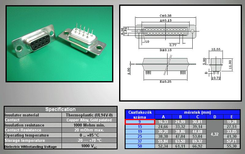 D-SUB 9p. aljzat PCB CS-DS009S/N