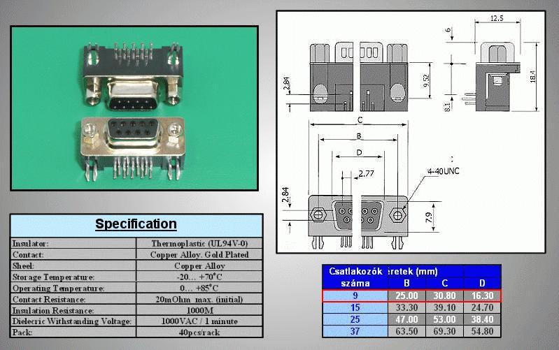 D-SUB 9p. aljzat PCB 90° CS-DS009S/N90