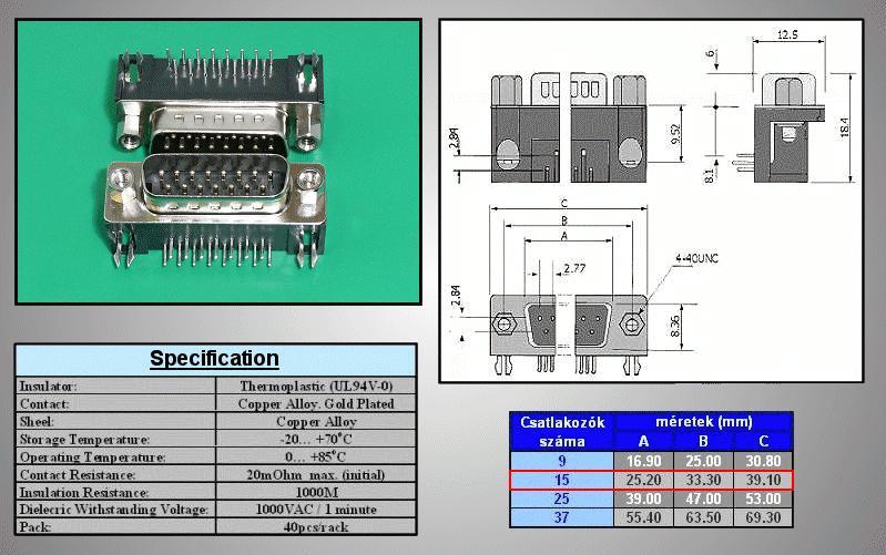 D-SUB 15p. dugó PCB 90° CS-DS015P/2/N90