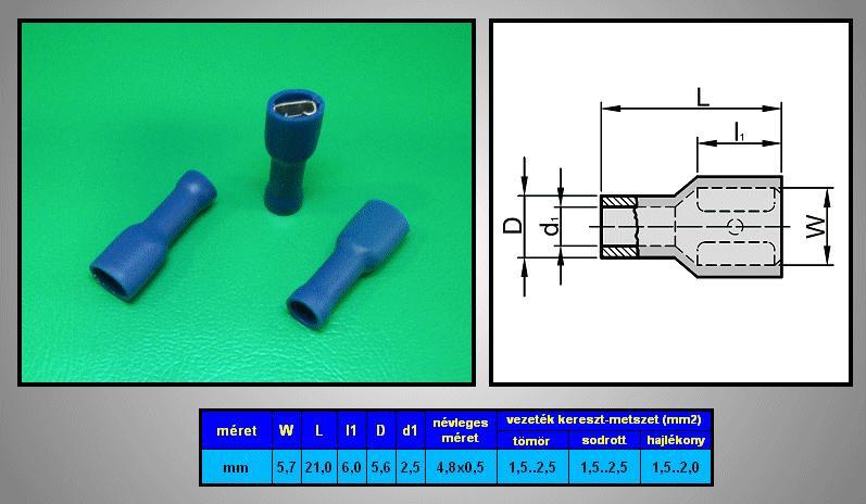 Kábelsaru 4.8/0.5 hüvely 1.5-2.5mm2 kék, szigetelt CS-K1480525/SZB
